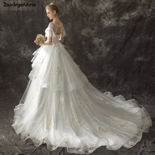 darlingoddess Short Sleeve Wedding Dress 2018 Royal Train