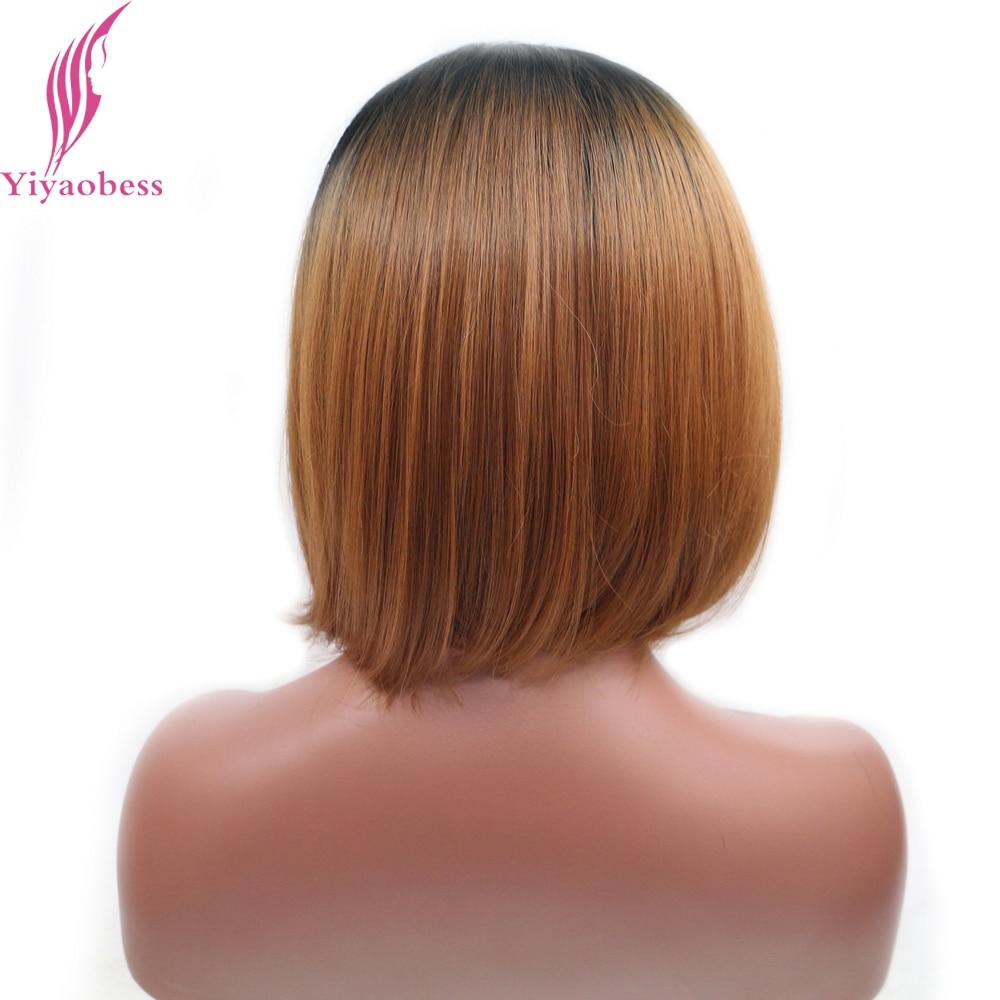 Yiyaobess 14 tums Värmebeständig Kort Bob Paryk För Kvinnor Rak - Syntetiskt hår - Foto 4