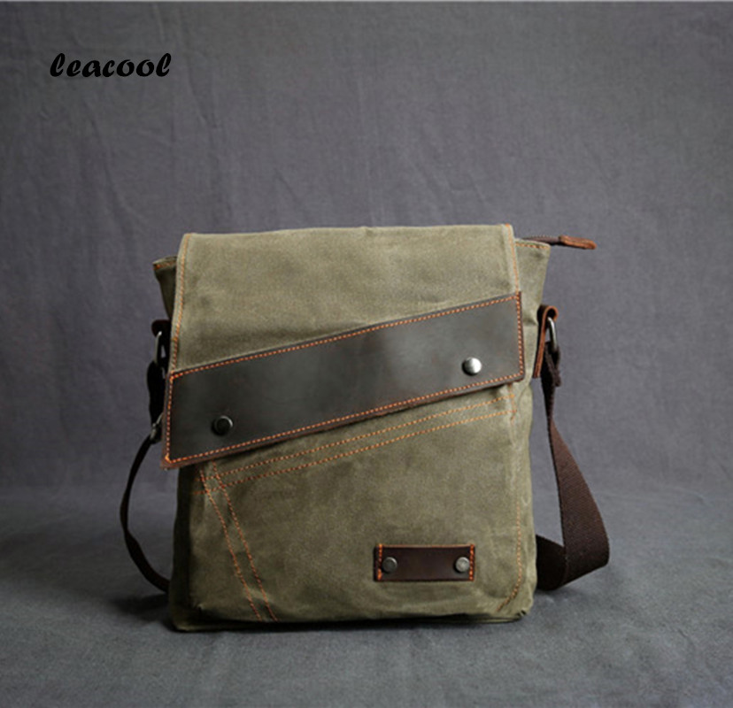 LEACOOL Men's Crossbody Bag Multifunctional Men Casual Bag Quality Male Shoulder Messenger Bags Canvas Leather Handbag Green men s canvas shoulder bag new korean casual shoulder messenger bag army green retro small crossbody bags for men high quality