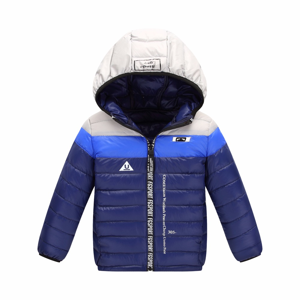 Down jacket for boys girls 90% white duck down patchwork style fashion warm hooded coat for children baby clothes 2017 newest