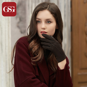 GSG Women Winter Leather Gloves Mittens Knitted Lined Driving Gloves Handmade Warm Ladies Fashion Touch Screen Gloves Black women s genuine leather gloves black sheepskin finger driving gloves spring autumn thin velvet lined warm fashion mittens tb13
