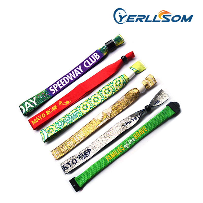 YERLLSOM 400PCS Lot High Quality Customized Cloth Fabric Wristbands With Woven Logo For Events F041502