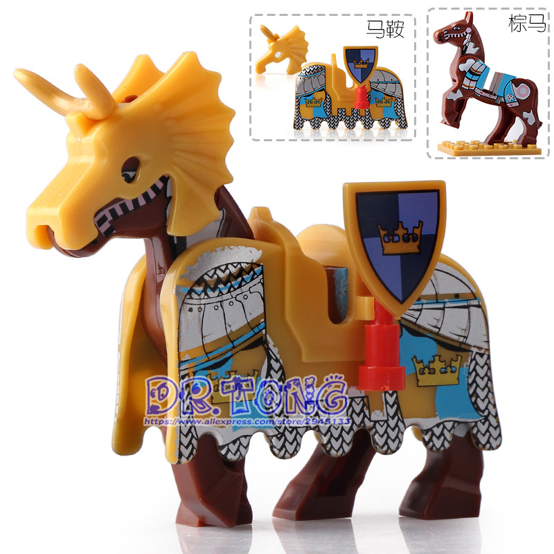 DR TONG 20pcs/lot Knight Horse Battle Steed With Saddle Super Heroes Medieval Rome Knights Building Blocks Toys Children Gifts dr tong 80pcs lot new toy story sy661 buzz light year woody emperor zurg squeezy aliens building blocks bricks toys child gifts