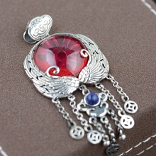 Red corundum Pendant Silver tassel sweater wholesale S925 female silver inlaid Antique Style Pendant