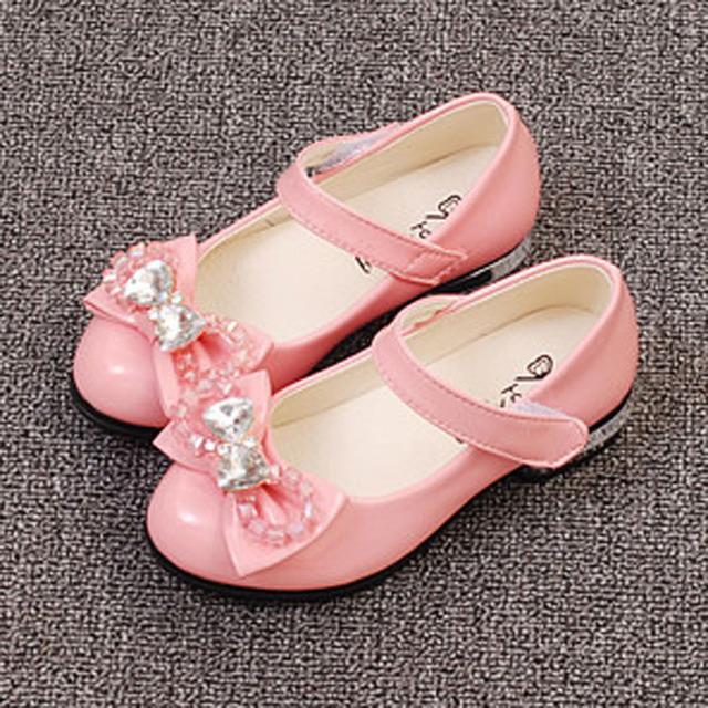Niños niñas princesa shoes 2017 nueva crystal party kids shoes correa de tobillo flower girl dress shoes para la boda infantil de alta talón