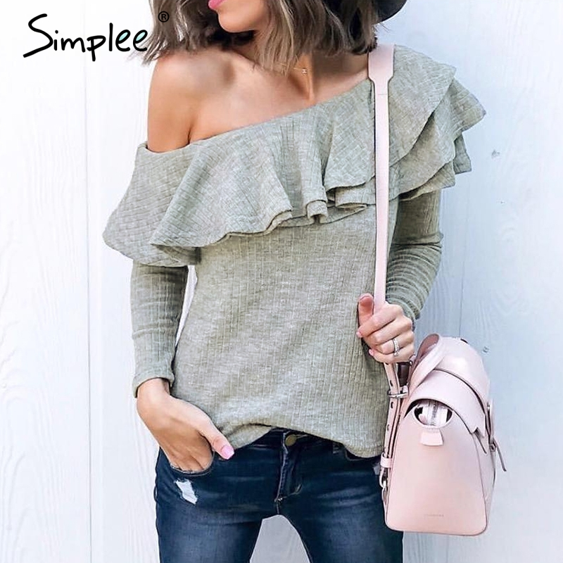 Simplee One shoulder ruffles   blouse     shirt   women Sexy slim long sleeve tops Knitted casual cotton blusas new fashion women autumn