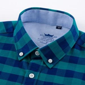 Image 2 - גברים של מזדמן משובץ משובץ אוקספורד כותנה חולצות אחת תיקון כיס ארוך שרוול סטנדרטי fit כפתור צווארון אריג צבעוני חולצה