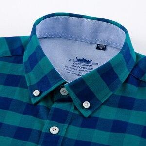 Image 2 - Erkek rahat ekose damalı Oxford pamuk gömlekler tek yama cep uzun kollu standart fit düğme yaka şemsiye gömlek