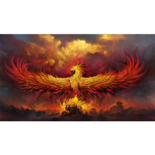 Megayouput 3d Diy diamond painting cross stitch fire Phoenix animal 5d  embroidery kit Mosaic pattern gift