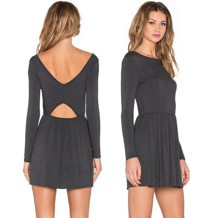 EBay aliexpress explosion models selling Amazon Europe backless long sleeve knit dress