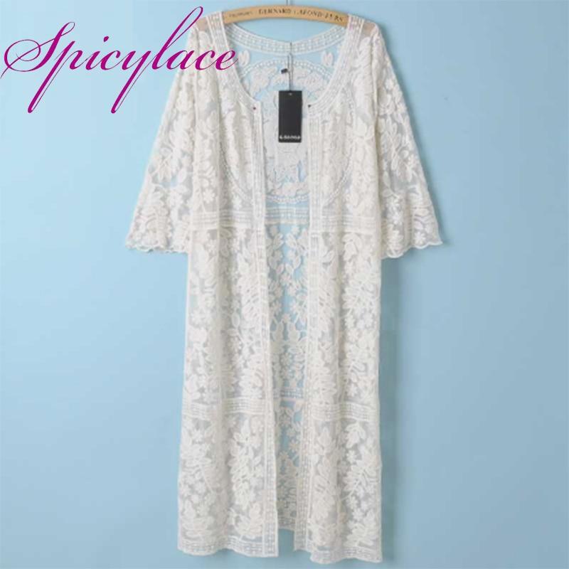 ᗗMedia manga abierta puntada crochet floral Encaje patchwork casual ...