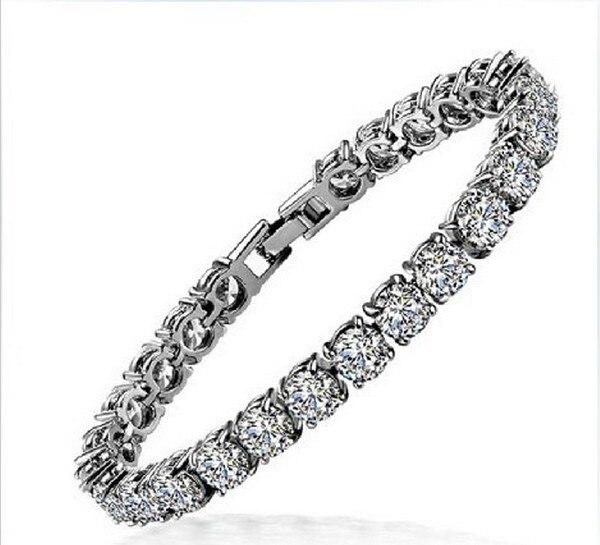 Amazing Quality Round Diamond 18K White Gold Cover Bracelets Bangles for Women Birthday Gift Wholesale Fashion