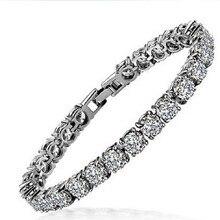 Потрясающее качество, круглый бриллиант, 18 К, покрытие из белого золота, браслеты, браслеты для женщин, подарок на день рождения,, модное ювелирное изделие