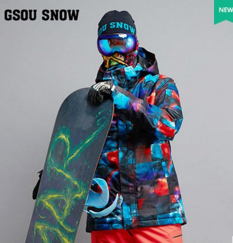 Mens Blue Ski Jacket Male Color Box Riding Snowboarding Jacket Snow Coat Skiwear Waterproof 10K Windproof Breathable Warm