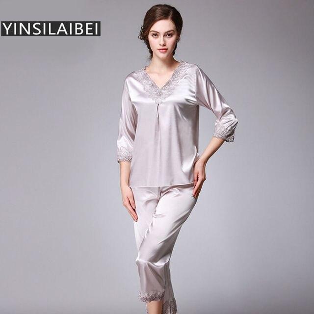 High Quality Faux Silk Pajamas for Women Sexy Satin Pajama Set Plus Size  Female Satin Sleepwear 251a34e56