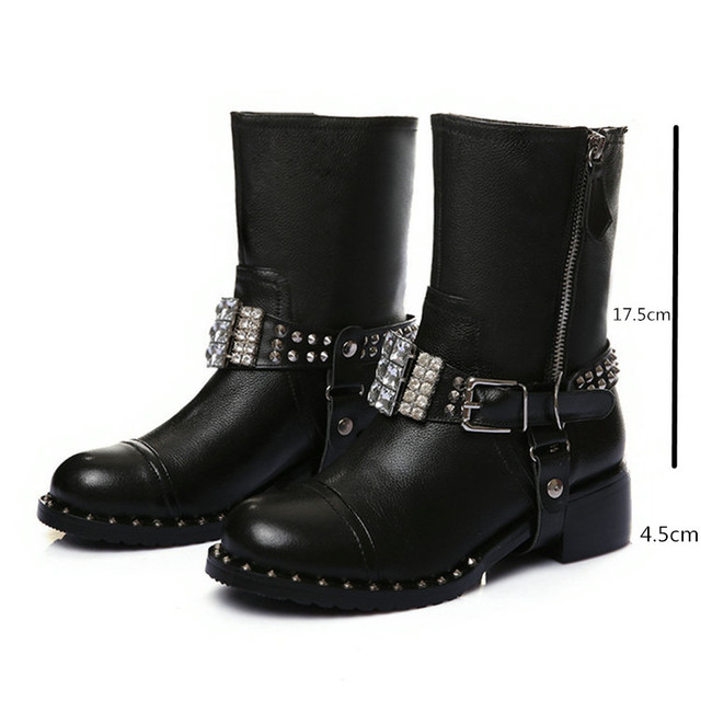 Fashion Punk Style Women s Genuine Leather Ankle Boots with Rhinestone  Buckle Rivets Women Motorcycle Boots Woman Martin Shoes e70509a74105