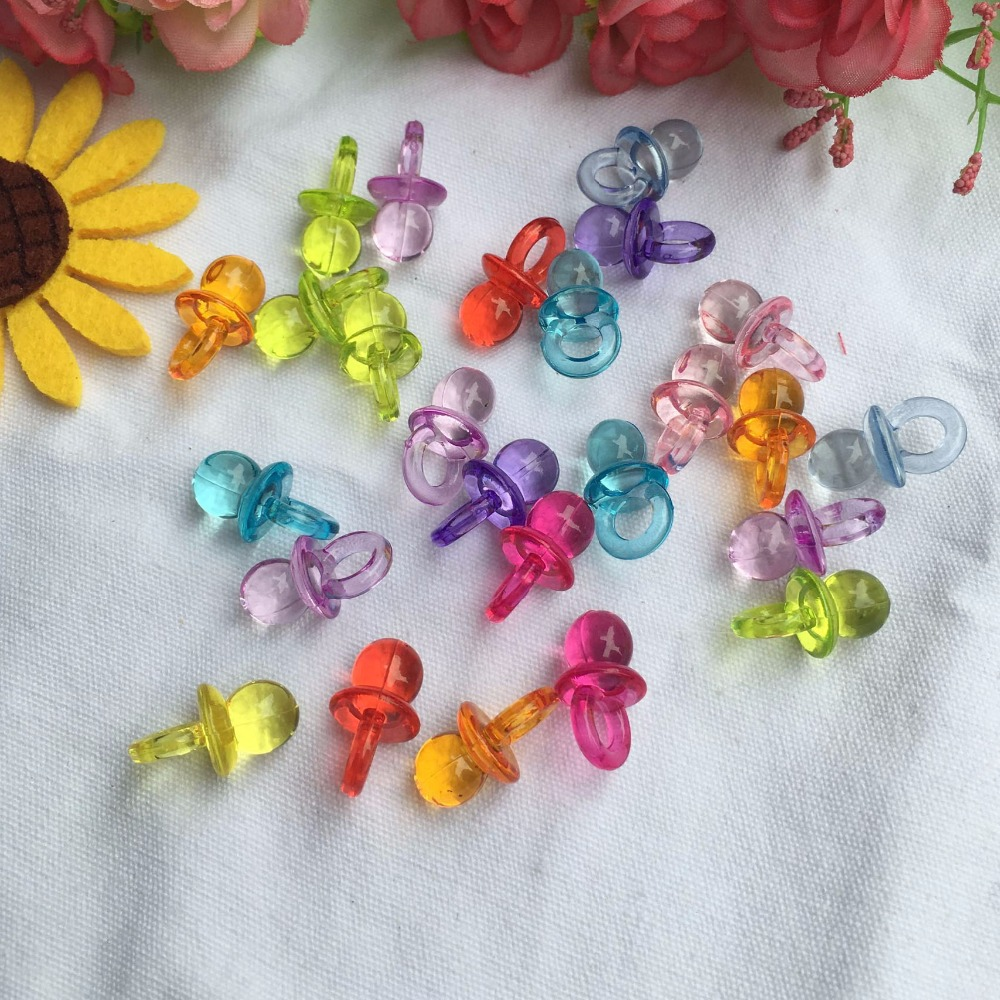 50pcs/Lot Clear Baby Shower Party Favors Mini Pacifiers Girl Boy Full Moon Gift Birthday Festival Party Decorations
