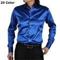 Seda de manga larga hombres camisa delgada ocasional más el tamaño de los hombres camisas de vestido de boda suave camisa floja ocasional de los hombres