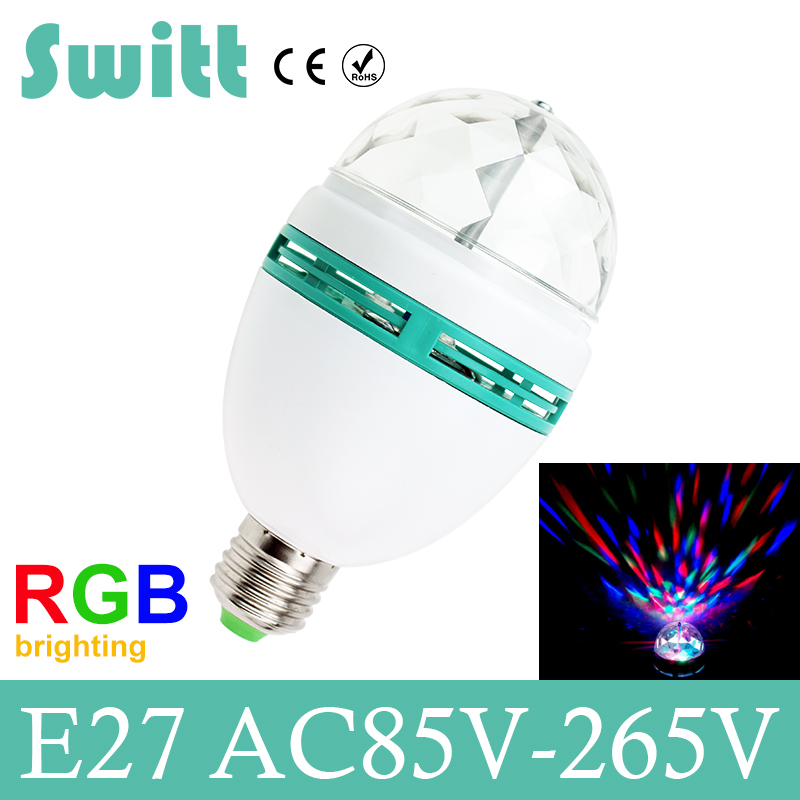 2017 Christmas E27 3W 110v-220v Colorful Auto Rotating RGB projector Crystal led Stage Light Magic Ball DJ party disco Bulb Lamp