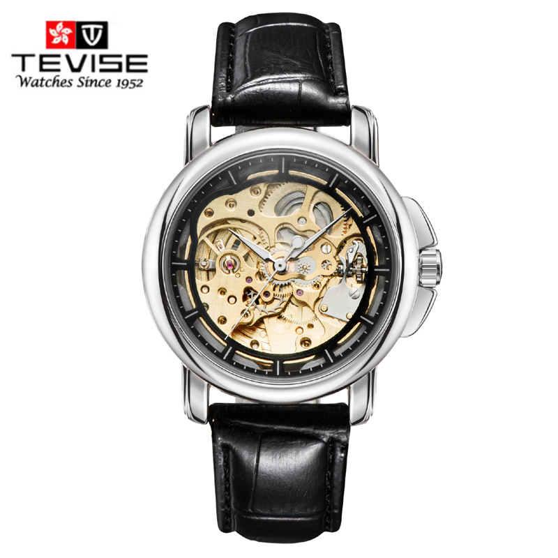 TEVISE Hot Sale Automatic Skeleton Mechanical Watch Men Retro Leather Analog Wrist Watches Horloges Mannen 2017 top luxury men watches skeleton analog wrist watch men s mechanical auto self wind dress watch horloges mannen with box