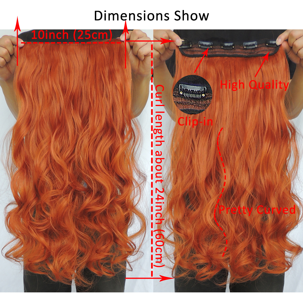Clip In Hair Extensions Synthetic Extentions Pieces 24inch Curly