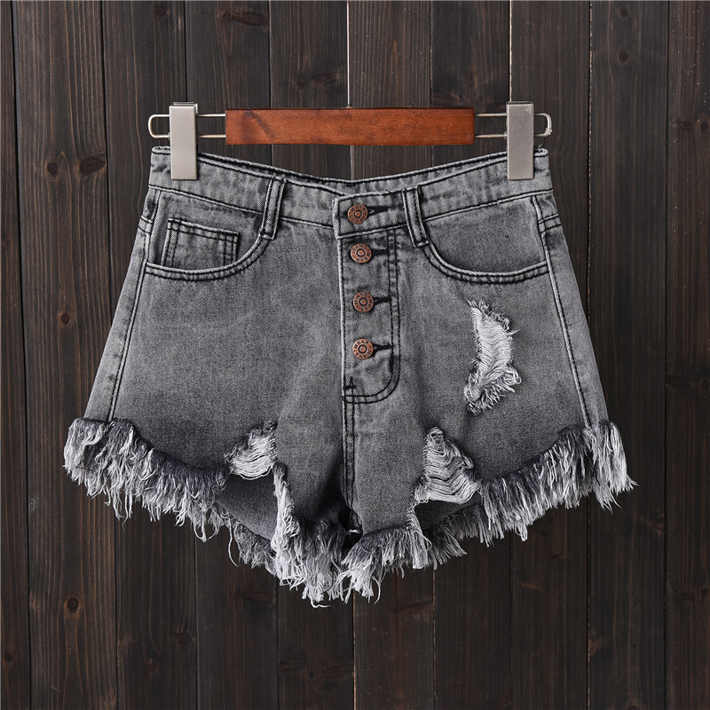 Thoshine Brand Summer Women Distressed Hole Denim Shorts Tassel Sexy Hot Pants Female High Waist Mini Short Jeans Streetwear