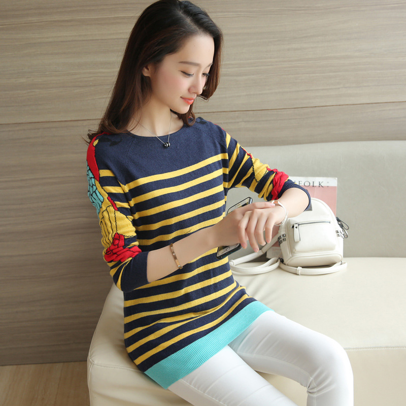 Europe and the United States stripe loose sleeve sweater women 's autumn and winter women' s sweater women