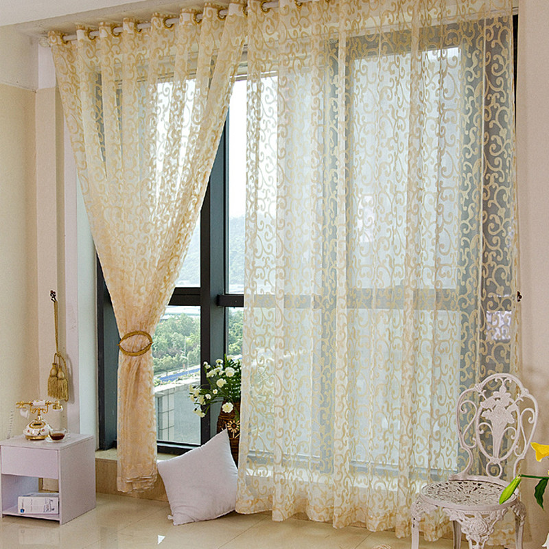2017 Persianas European Golden Royal Luxury Curtains for Bedroom Window Curtains for Living Room Elegant Drapes Curtains