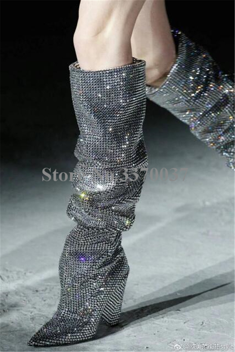 New Fashion Women Pointed Toe Silver Bling Bling Slip-on Over Knee Crystal Spike Heel Boots Pleated Rhinestone Long Boots