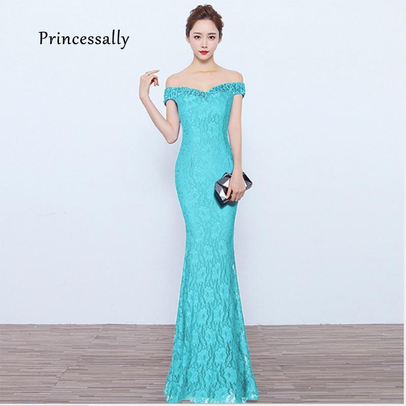 New Mermaid Lace Evening Dresses Turquoise Off The Shoulder Beadings Vestido Cerimonia Robe De Soiree Evening Dresses Long 2019