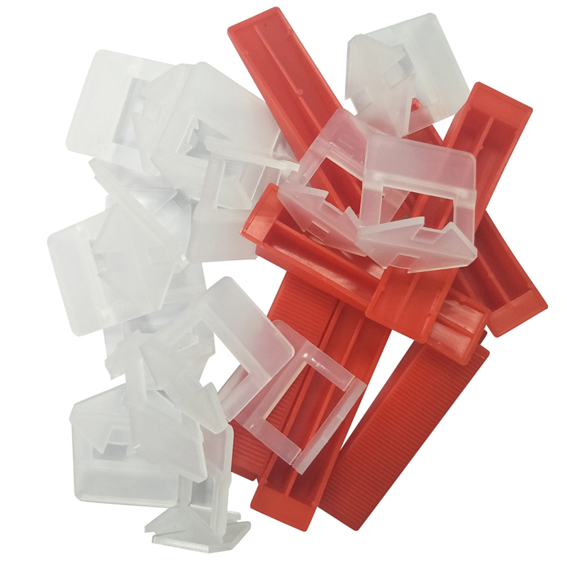 Tile Leveling System With Cleaning And Washing Sponge (50pcs Red Wedges+50pcs 3.0mm White Clips )