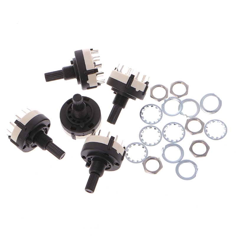 5 Pcs 4P3T 4 Pole 3 Position 6mm Shaft Diameter Band Selector Rotary Switch
