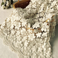 Vintage Beige Cotton Lace Fabric Guipure Fabric Floral Crochet Hollowed Sewing Fabric Material DIY Handmade Accessories