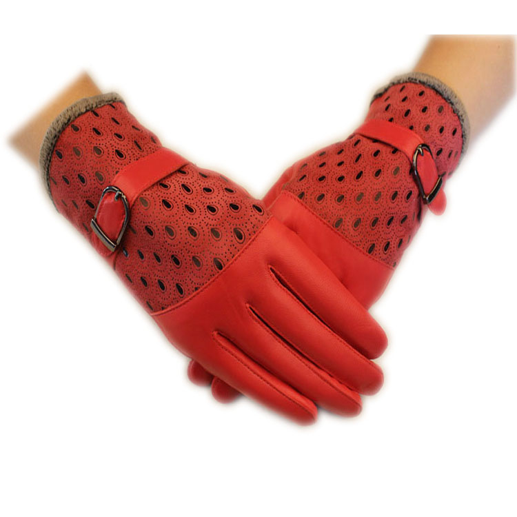 2019 Genuine Leather Sheepskin Gloves Casual Button Peacock Design Real Leather Mittens