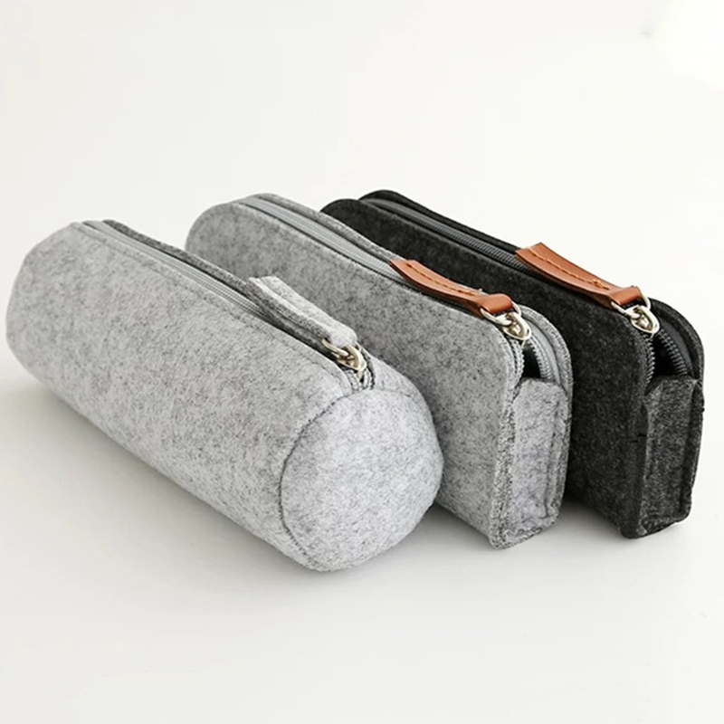 Sale New Wool Felt Pencil Case Bag Big Capacity Multifunctional Pen Bag Cosmetic Bag Stationery Pouch Purse Storage Bag Office