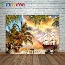 Piso de madeira cenário navio pirata tesouro corda de coco árvore céu mar decorações para casa para a foto