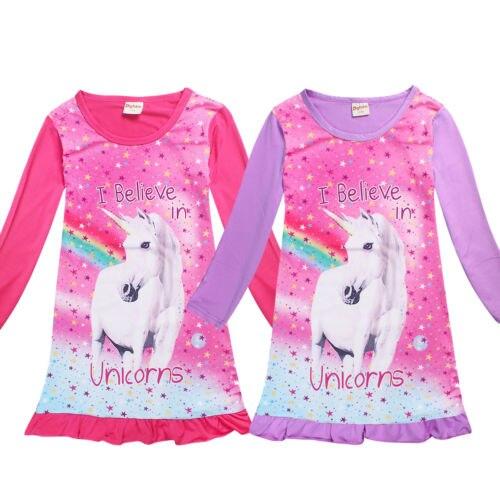 2018 Kids Girls unicorn Top T Shirt Dress Nightwear Nightdress Pyjamas Clothes
