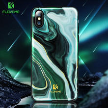 FLOVEME Luxury Phone Case For iPhone X 8 7 Soft Edge Agate Pattern Cases for Apple iPhone 7 7 8 Plus Cover Silicone Accessories