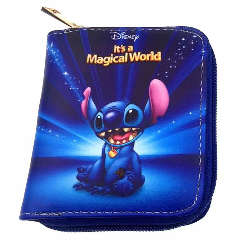 Kawaii Cartoon Stitch lilo Mini Wallets Zipper Poucht Coin Pocket Leather Purse for Kids Boy Girl Fashion Gifts Coin Key Wallets kawaii girls wallets leather card holder purse with coin pocket zipper poucht gifts woman lady cartoon anime short wallet