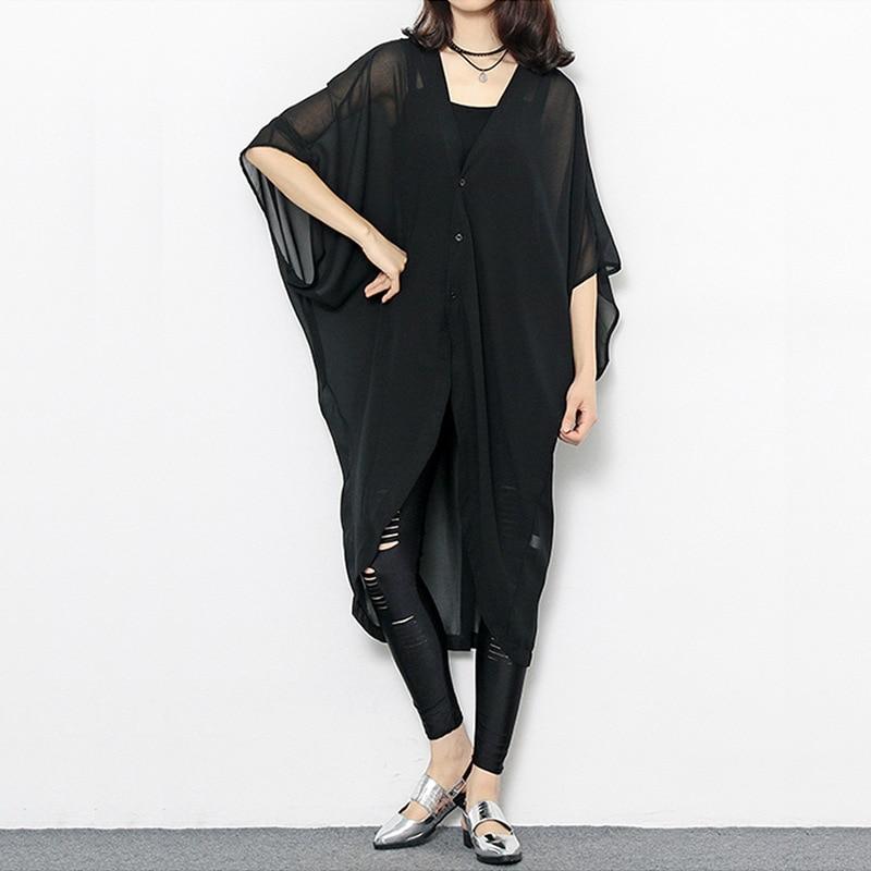 Johnature Solid Color Black Casual Plus Size Chiffon   Trench   Coats Women 2019 Summer Batwing Irregular Thin Long Women Coats New