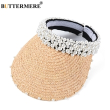 BUTTERMERE Summer Straw Hat Women Raffia Long Brim 12.5cm Visor Sun Hats Ladies Beige Pearl Crochet Female Elegant