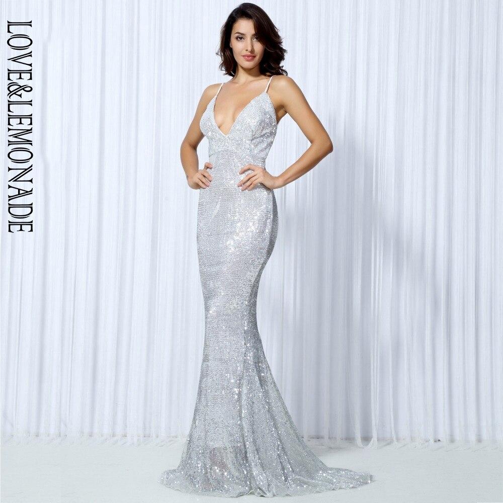 Miłość i lemoniada SilverElastic cekiny odsłonięte plecy długa sukienka LM0043 w Suknie od Odzież damska na  Grupa 3