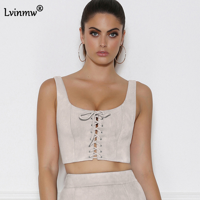 a07d949b5e3eb Summer Faux Suede Corduroy Women Crop Top 2017 Lace Up Bow Strapless Tank  Top Sexy Push Up Bralette Party Club Bodycon Camis Top