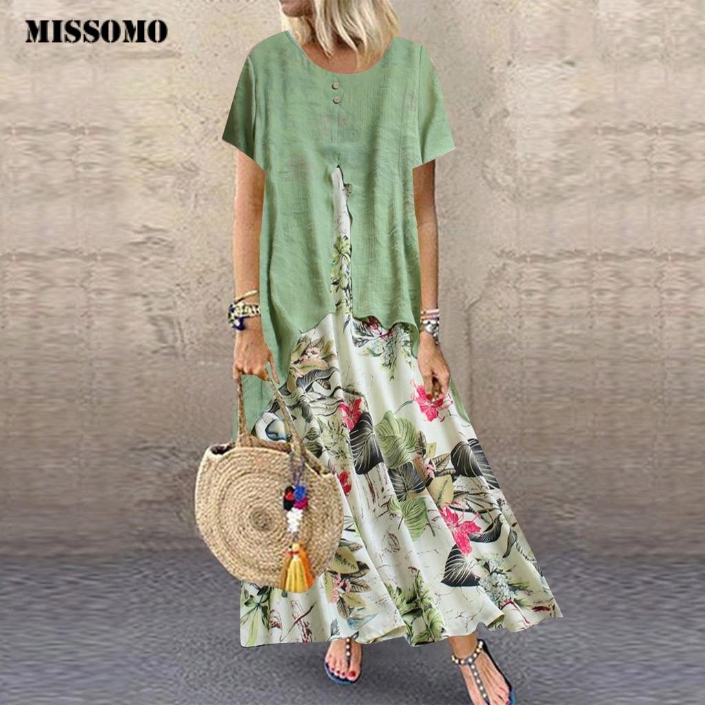 MISSOMO Summer Dress Women Long Dresses Vintage Print Patchwork O-Neck Maxi Dress Plus Size Dress Women Clothes Girls Vestidos 7