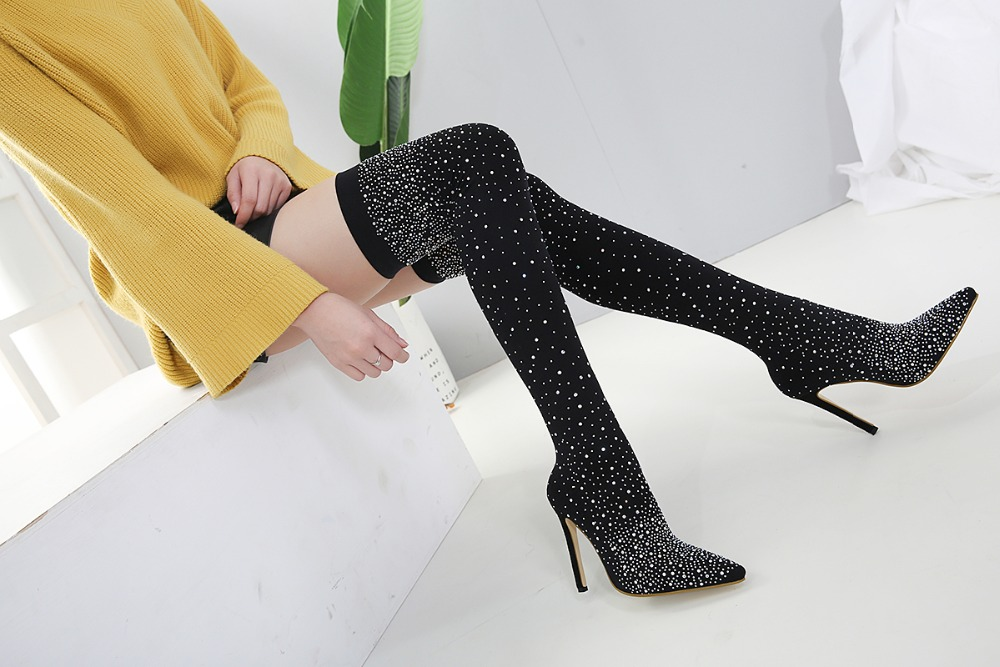 Over Knee Thigh High Heel Pointed Toe Crystal Bling Socks Party Boots