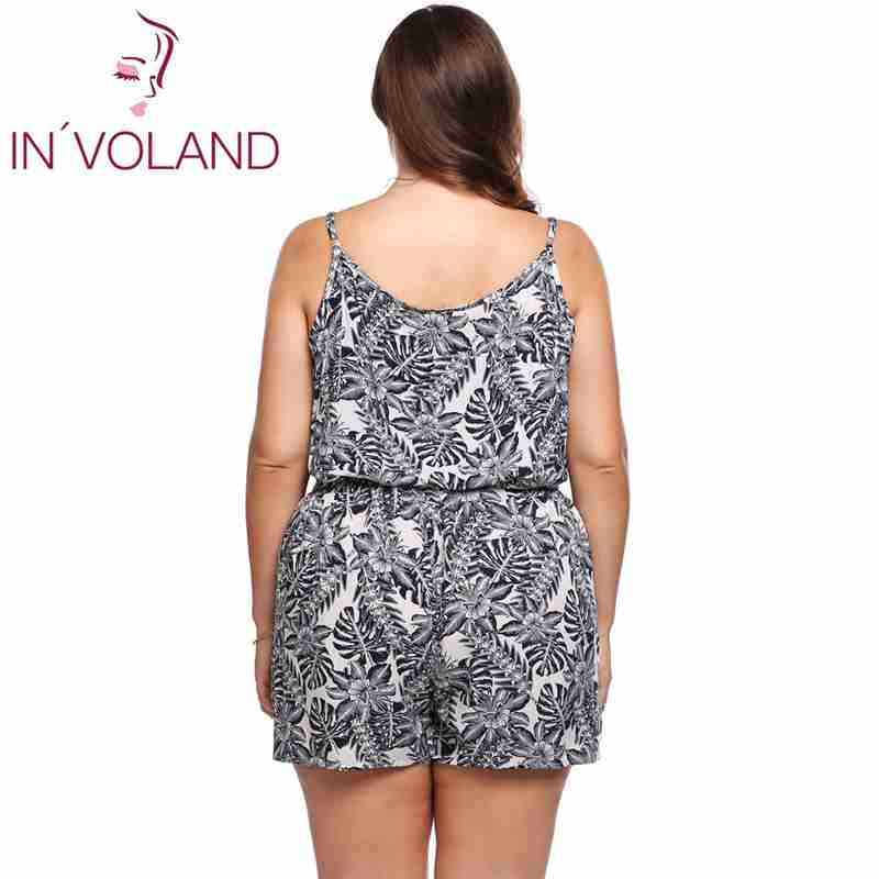 f4698e5106f INVOLAND Plus Size Women Rompers Summer Beach Loose Playsuits Floral Print Spaghetti  Strap Sleeveless oversized-in Rompers from Women s Clothing ...