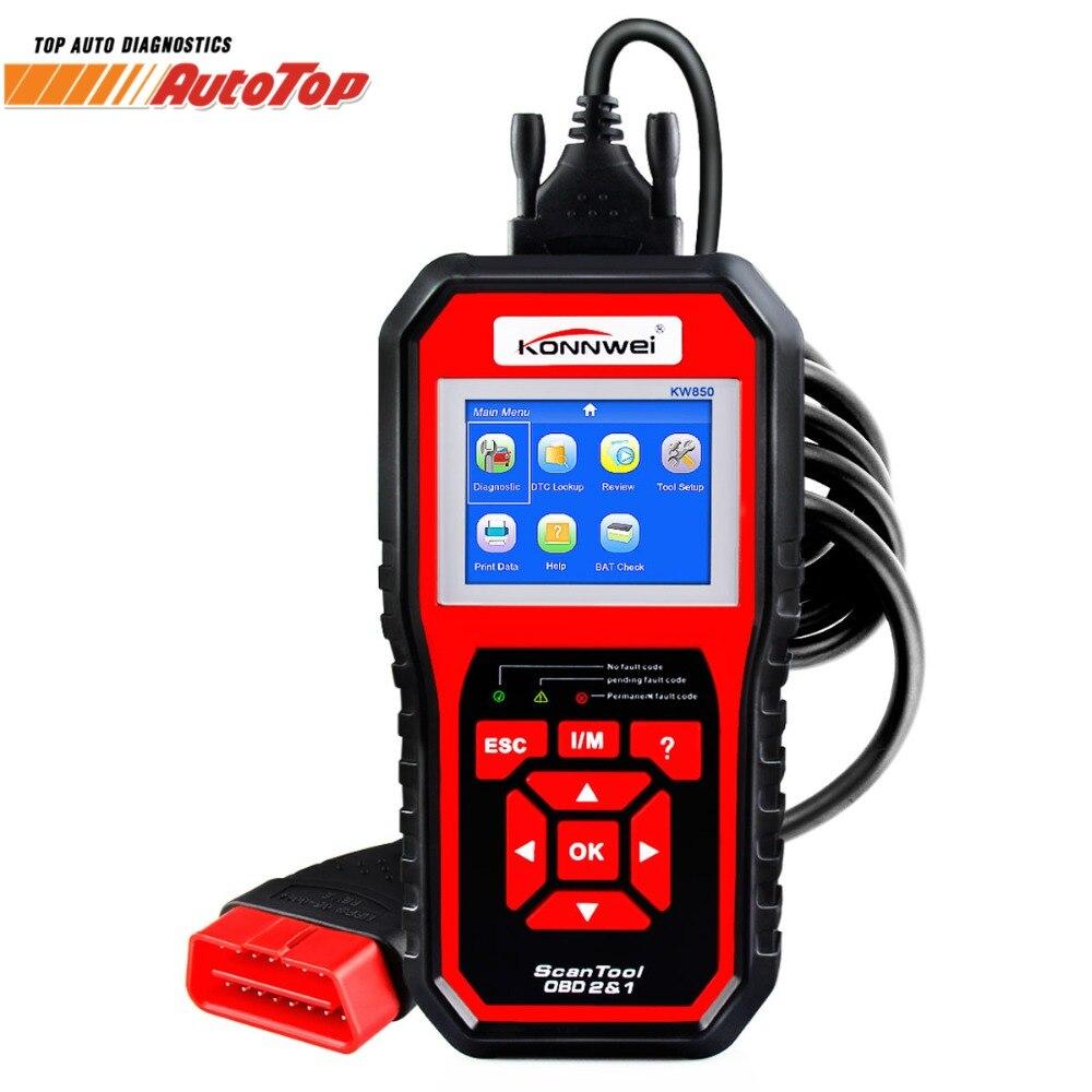 KONNWEI KW850 Autoscanner БД 2 OBD2 автомобильной сканера нескольких языков Авто диагностический сканер лучше AL519 NT301 OBD2 сканер