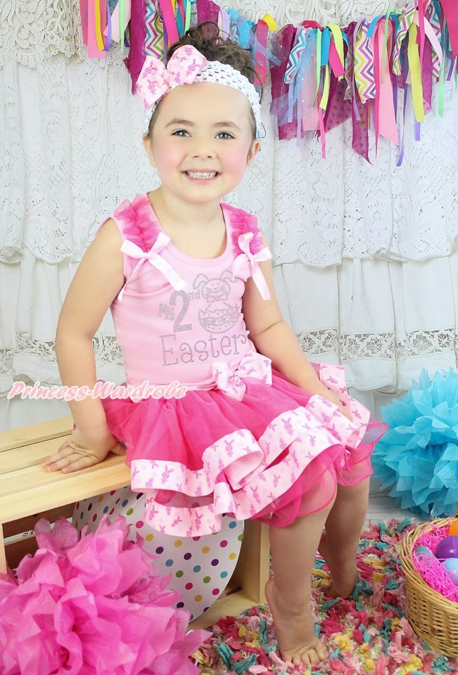 My 2ND Easter Egg Bunny Pink Top Rabbit Satin Trim Skirt Girls Outfit Set NB-8Y hot pink top shirt camouflage lacing satin trim girl pettiskirt outfit set nb 8y mapsa0642