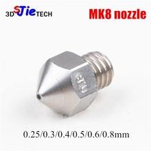MK8 Ekstruder paslanmaz çelik/pirinç TC4 memesi M6 0.25/0.3/0.4/0.5/0.6/0.8mm Creality CR-10 MK9 Makerbot Anet 3D yazıcı