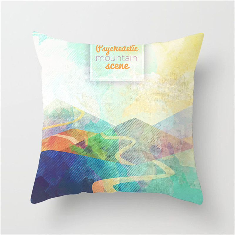 Fuwatacchi Watercolor Painting Cushion Cover Mountain River Scenic Pillow Cover Gradient Cushion Case for Decorative Sofa in Cushion Cover from Home Garden
